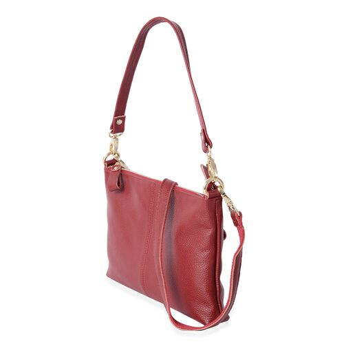 Super Soft 100% Genuine Leather Sassy Red Cross Body Bag with Adjustable and Removable Shoulder Strap (Size 25x17x4 Cm)