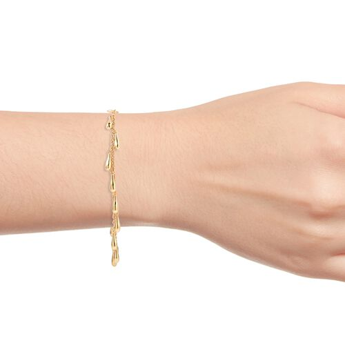 LucyQ Multi Drip Bracelet (Size 8) in Yellow Gold Plated Sterling Silver, Sterling Silver 10.87 Gms