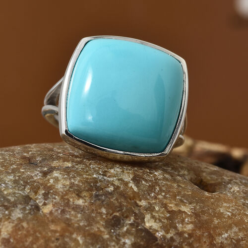 Extremely Rare Size AAA Arizona Sleeping Beauty Turquoise (Cush) Ring in Platinum Overlay Sterling Silver 7.000 Ct