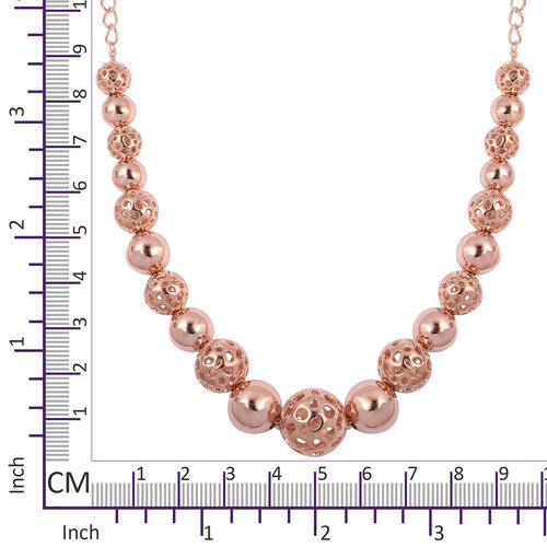 RACHEL GALLEY Rose Gold Overlay Sterling Silver Graduated Globe Necklace with Magnetic Lock (Size 20), Silver wt 42.5 Gms.