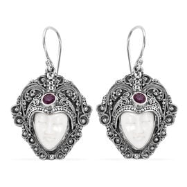 Princess Bali OX Bone Carved Face and Ruby Hook Earrings in Sterling Silver 15.50 Grams