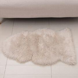 Faux Sheep Skin Rug (Size 100x60 Cm) - White