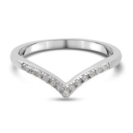 White Diamond Band Ring in Platinum Overlay Sterling Silver 0.07 ct  0.070  Ct.