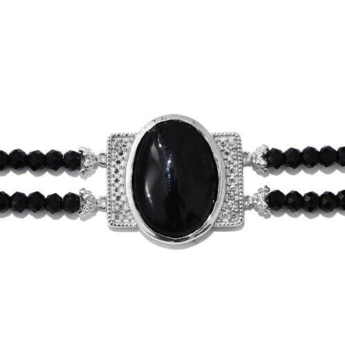 Boi Ploi Black Spinel (Ovl) Bracelet (Size 7.5) in ION Plated Platinum Bond 28.500 Ct.