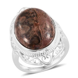 One Time Deal- Picture Jasper (Ovl) Ring in Sterling Silver 9.250 Ct.