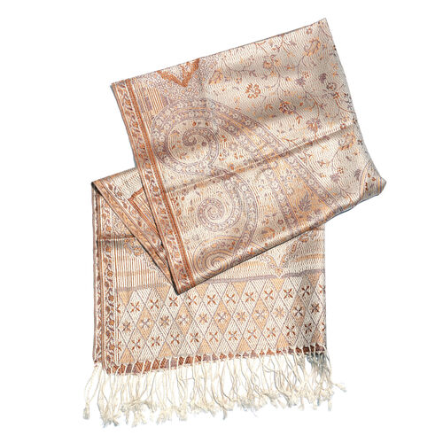 SILK MARK- 100% Superfine Silk Beige, Chocolate and Multi Colour Jacquard Jamawar Scarf with Fringes (Size 180x70 Cm)