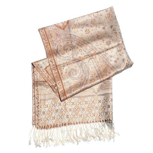 SILK MARK- 100% Superfine Silk Beige, Chocolate and Multi Colour Jacquard Jamawar Scarf with Fringes (Size 180x70 Cm)