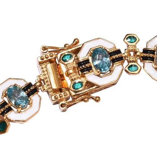 Ratanakiri Blue Zircon Enamelled Bracelet (Size 7.5) in 14K Gold Overlay Sterling Silver 6.00 Ct, Silver wt 15.32 Gms