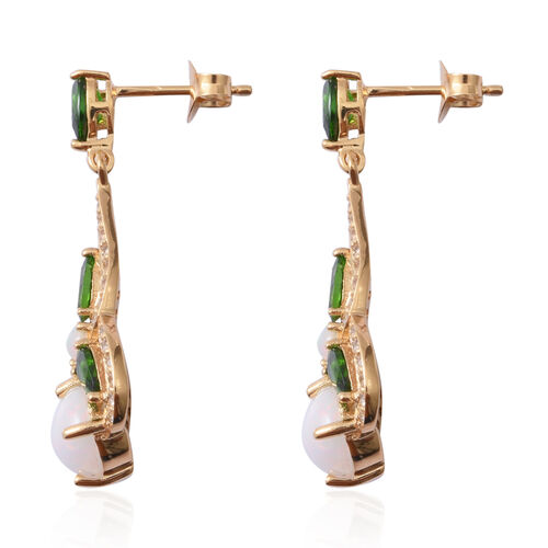 Ethiopian Welo Opal (Rnd 2.14 Ct), Russian Diopside and White Topaz Earrings (with Push Back) in Yellow Gold Overlay Sterling Silver 5.340 Ct.