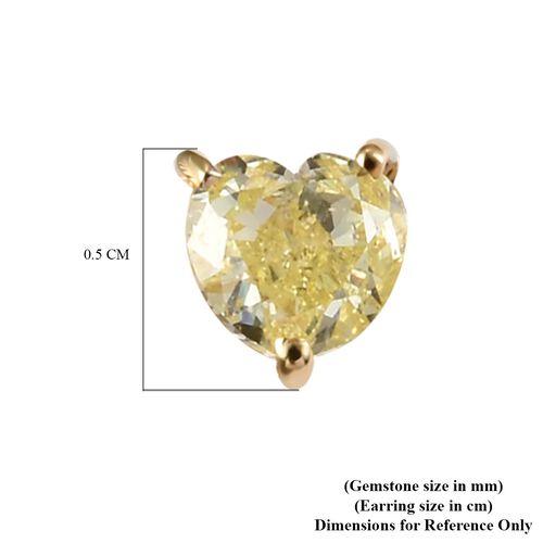 14K Yellow Gold Natural Yellow Diamond Heart Stud Earrings 0.50 Ct.
