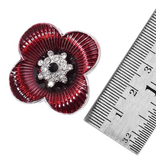 TJC Poppy Design-Black and White Austrian Crystal Enameled Poppy Flower Brooch in Silver Tone