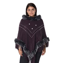 Faux Fur Collar and Border Free Size Poncho with Tassels (L-75 Cm) - Dark Purple