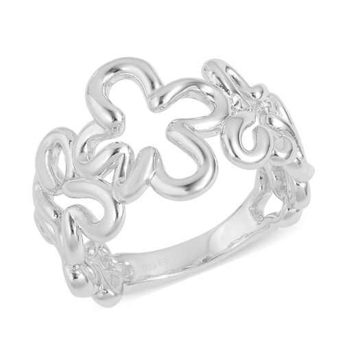 Lucy Q Rhodium Overlay Sterling Silver Splash Ring