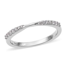 RHAPSODY 0.14 Ct Diamond Supreme Finish Twist Band Ring in 950 Platinum IGI Certified VS EF