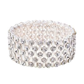White Austrian Crystal (Rnd) Stretchable Bracelet (Size 7) in Silver Tone