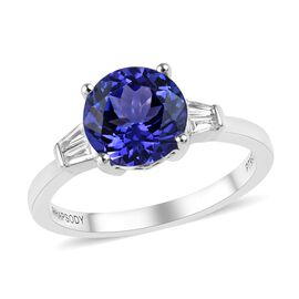 RHAPSODY 2.50 Ct AAAA Tanzanite and Diamond Solitaire Design Ring in 950 Platinum 4.70 Grams VS EF