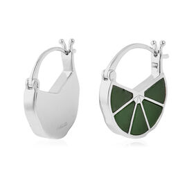 Isabella Liu Dance of Ginkgo - Green Jade Earrings (with Clasp) in Rhodium Overlay Sterling Silver 8