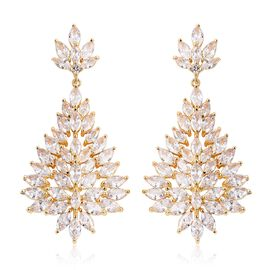 Simulated Diamond (Mrq and Rnd) Dangle Earrings (with Push Back) in Yellow Gold Tone
