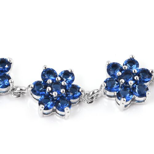 Simulated Blue Sapphire (Rnd) Floral Bracelet (Size 8) and Earrings in Silver Plated