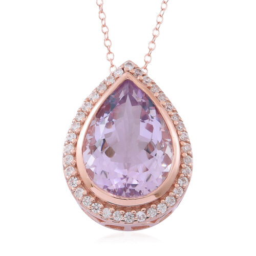 Rose De France Amethyst (Pear 10.00 Ct), Natural White Cambodian Zircon Pendant With Chain in Rose Gold Overlay Sterling Silver 11.000 Ct.