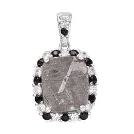 Meteorite, Boi Ploi Black Spinel and Natural Cambodian Zircon Pendant in Platinum Overlay Sterling S