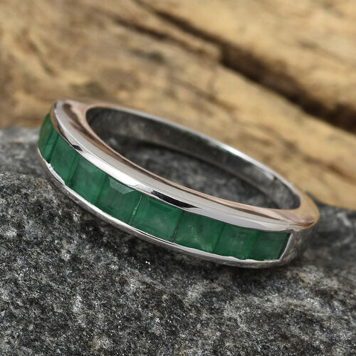 ILIANA 18K White Gold AAA Kagem Zambian Emerald (Sqr) Half Eternity Band Ring 1.250  Ct.