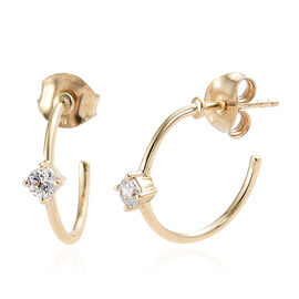 J Francis- 9K Yellow Gold (Rnd) Earrings (with Push Back) Made with SWAROVSKI ZIRCONIA