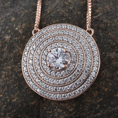 J Francis - Premium Collection Rose Gold Overlay Sterling Silver (Rnd) Adjustable Necklace (Size 18) Made with SWAROVSKI ZIRCONIA.Silver Wt 14.50 Gms  Number of Swarovski 123 PCS