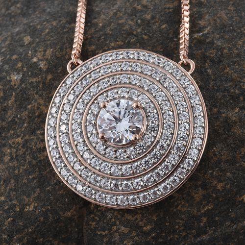 J Francis - Premium Collection Rose Gold Overlay Sterling Silver (Rnd) Adjustable Necklace (Size 18) Made with SWAROVSKI ZIRCONIA.Silver Wt 14.50 Gms  Number of Swarovski 123 PCS