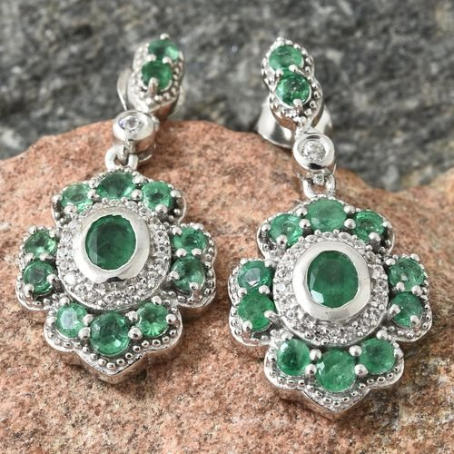 AA Kagem Zambian Emerald (Ovl), Natural Cambodian Zircon Earrings (with Push Back) in Platinum Overlay Sterling Silver 2.400 Ct. Silver wt 7.35 Gms.