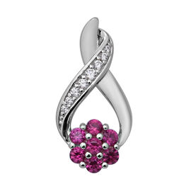 ELANZA Simulated Diamond and Simulated Ruby Inifinity and Flower Pendant in Rhodium Overlay Sterling