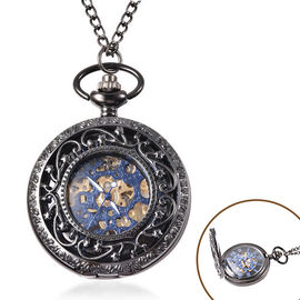 GENOA Automatic Mechanical Hollow-Out Star Pattern Skeleton Pocket Watch with Chain in Black Tone