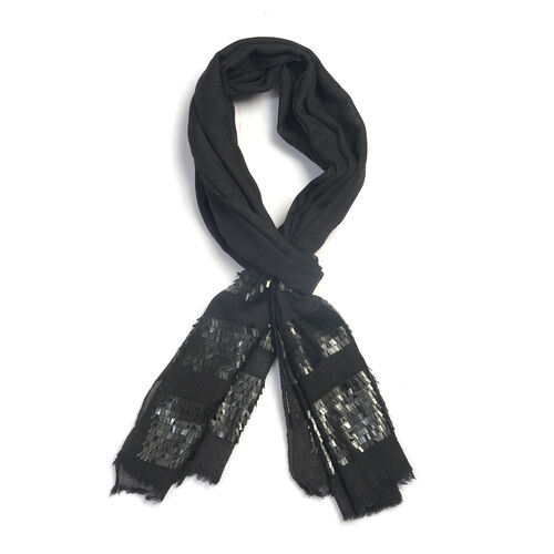 92% Wool and  8% Silk Check Pattern Black Colour Scarf  (Size 180x70 Cm)