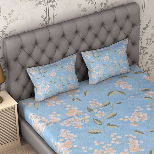 4 Piece Set : Floral Printed Microfibre Sheet Set including Flat Sheet (275x265cm), Fitted Sheet (150x200+30cm) and Pillow Cases (2Pcs - 50x75cm) - Light Blue - King