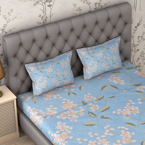 4 Piece Set : Floral Printed Microfibre Sheet Set including Flat Sheet (230x265cm), Fitted Sheet (140x190+30cm) and 2 Pillow Cases (50x75cm) - Light Blue - Double