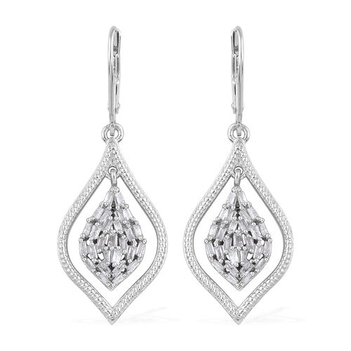 Diamond (Tapered Baguette) Lever Back Earrings in Platinum Overlay Sterling Silver 0.500 Ct, Silver
