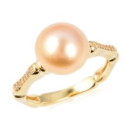 Golden South Sea Pearl and Cambodian Zircon Solitaire Design Ring in Gold Plated Sterling Silver