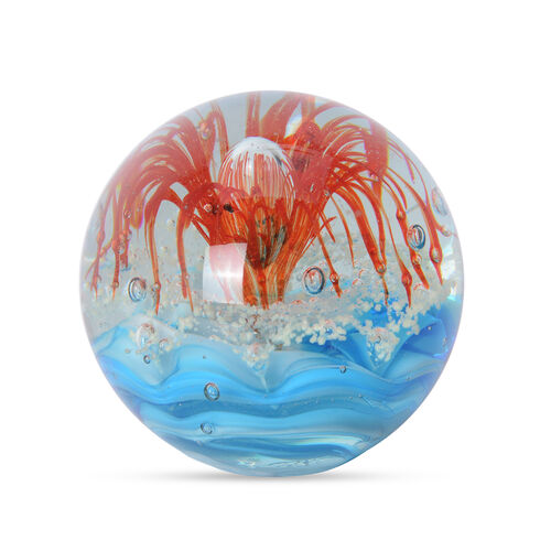 Large Murano Style Glass Paperweight Internal Decorations Red Flower and Colour Changing  LED