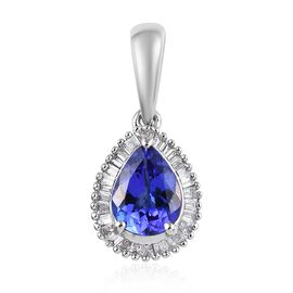 RHAPSODY 950 Platinum AAAA Tanzanite (Pear), Diamond (VS/E-F) Pendant 1.50 Ct.