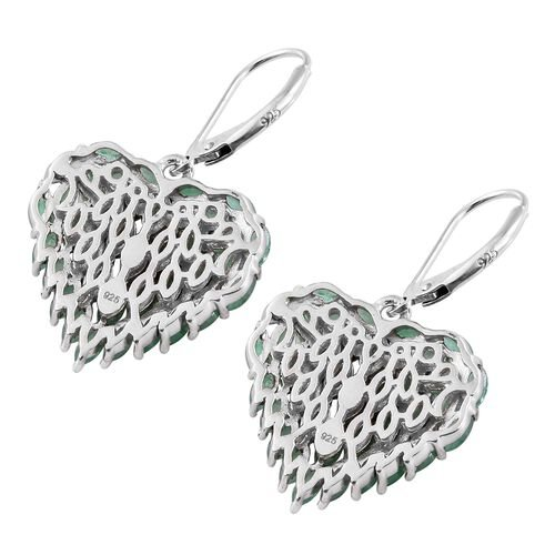 Designer Inspired Kagem Zambian Emerald (Mrq) Heart Lever Back Earrings in Platinum Overlay Sterling Silver 5.000 Ct. Silver wt. 5.88 Gms.