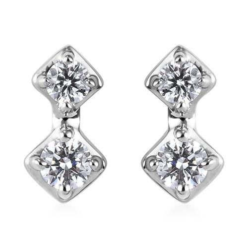 RHAPSODY 950 Platinum IGI Certified Diamond (VS/E-F) Earrings (with Screw Back) 0.25 Ct.