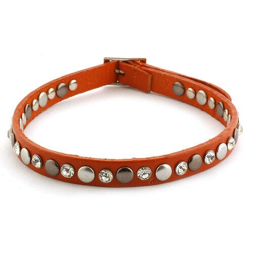 Tan Colour  Leather, White Austrian Crystal Studded Reversible Wrap Bracelet in Silvertone (Size 8)