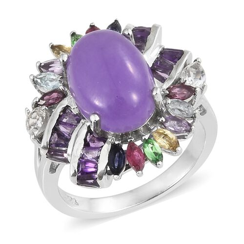 Purple Jade (Ovl 7.15 Ct), African Ruby, White Topaz and Multi Gemstone Ring in Platinum Overlay Sterling Silver 9.500 Ct. Silver wt 7.02 Gms.