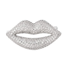 Simulated Diamond Lips Brooch in Silver Tone