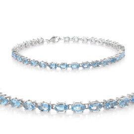 TJC Launch-RHAPSODY 950 Platinum AAAA Santa Maria Aquamarine (Ovl) Bracelet (Size 7.5) 6.000 Ct, Pla