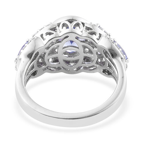 Tanzanite (Ovl 7.5x5.5 1.00 Ct), Natural Cambodian Zircon Ring in Platinum Overlay Sterling Silver 2.00 Ct.