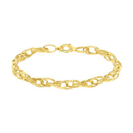 Close Out Deal Double Oval Textured Link Bracelet in 9K Gold 7.5 Inch