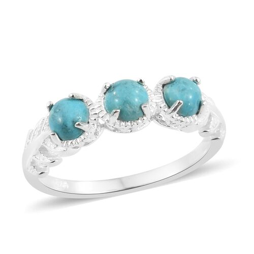 Sonoran Turquoise (Rnd) Trilogy Ring in Sterling Silver 1.500 Ct.