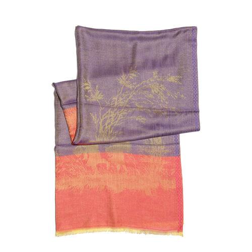 Orange, Golden and Light Purple Colour Tree and Children Pattern Jacquard Scarf (Size 190x70 Cm)
