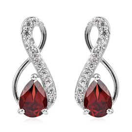 Mozambique Garnet (Pear), Natural Cambodian Zircon Earrings (with Push Back) in Platinum Overlay Ste